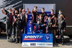 podium team HMC Racing et Ewen Hachez